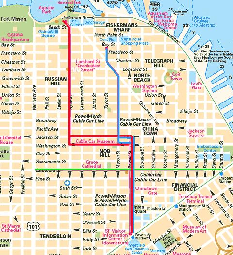 Mapa tras tramvaje v San Francisku