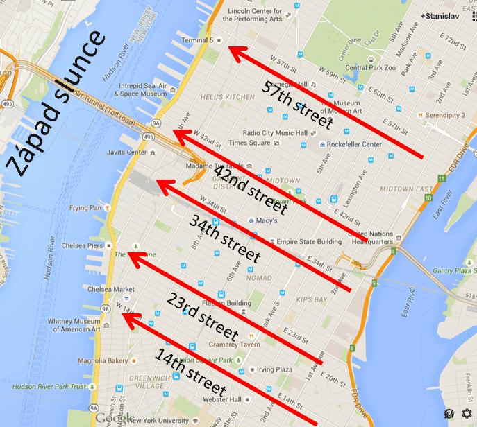 Manhattanhenge - mapa