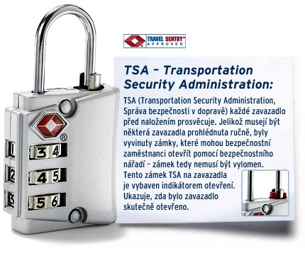 Bezpečnostní zámek TSA na kufr do USA