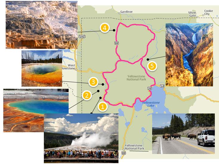 Yellowstone park - mapa