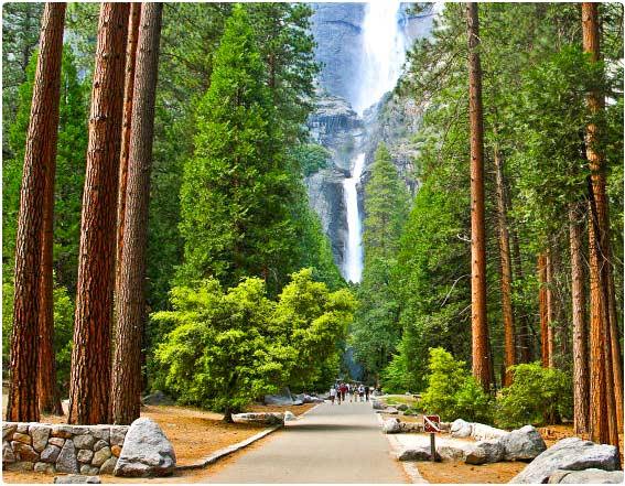 Cesta k dolnímu Yosemity vodopádu