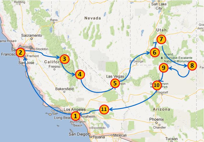 Itinerář - plán cesty po USA