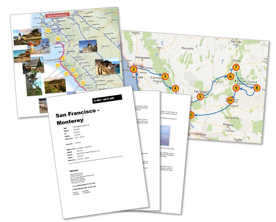 Itinerář na cestu po USA