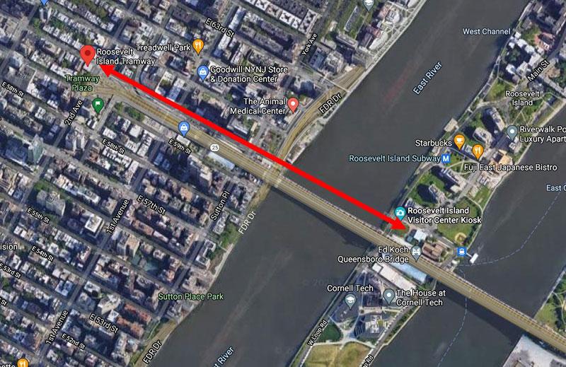 Mapa trasy lanovky z Manhattanu na ostrov Roosevelt
