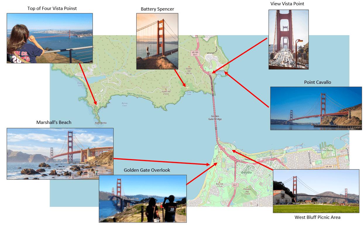 Mapa výhledů na Golden Gate Bridge