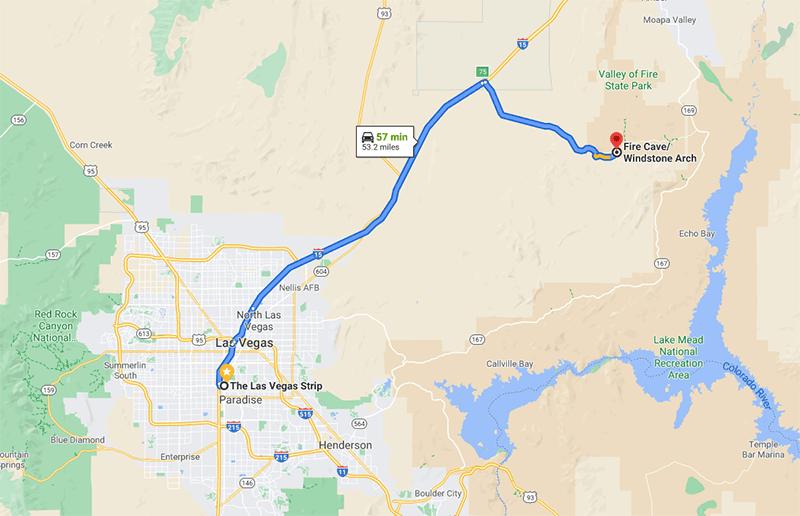 Mapa cesty z Las Vegas do Valley of Fire